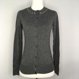 Merona Dark Grey Jeweled Collar Cardigan Sweater